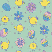 Vector Seamless Pattern with doodle chicken — Stock Vector