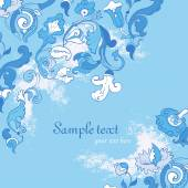 Vector Blue amazing card with Flowers — Stock Vector