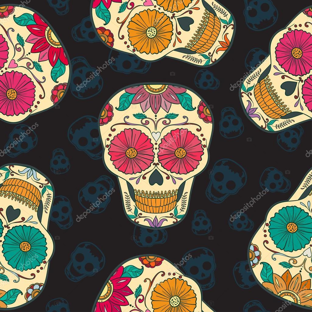 Vector Mexican Skull Seamless pattern. \u2014 Vector de stock 56824735