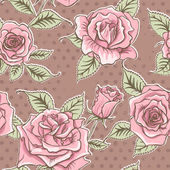 Vector Beautiful Vintage Roses Background. Floral Seamless Pattern — Stock Photo