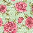 Vector Beautiful Vintage Roses Background. Floral Seamless Pattern — Stock Photo #69779721
