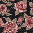 Vector Beautiful Vintage Roses Background. Floral Seamless Pattern — Stock Photo #69779775