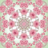 Vector Beautiful Roses Background. Floral Seamless Pattern with many details — Stockfoto