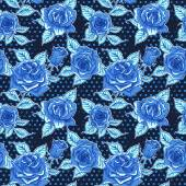 Vector Beautiful Blue Roses Background. Floral Seamless Pattern — Stock Photo
