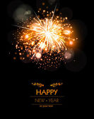 Happy New Year fireworks background concept, easy editable — Stock Vector