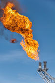 Burning the gas or oil at Flare station, Oil and gas construction — Stock Photo
