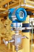 Pressure transmitter in oil and gas process , send signal to controller and reading pressure in the system. — Stock Photo