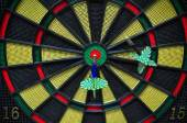 Darts arrows in the target center, Darts game , arrows and darts target the exact game — Stock Photo