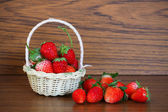 Fresh strawberries, Strawberries in a basket in the garden, Healthy fruit — Stock Photo