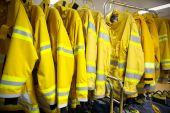 Firefighter suit and equipment ready for operation. — Stock Photo