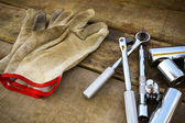 Hand tools set on wooden background. — Stock Photo