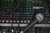 Hand on a Mixing Desk Fader in Television Gallery, Music equipment in training room. — Stock Photo