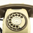Vintage picture style of new smart phone with old telephone on white background. New communication technology. — Stock Photo #66022731