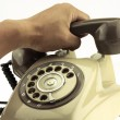Vintage picture style of new smart phone with old telephone on white background. New communication technology. — Stock Photo #66022769