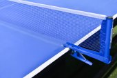 Table tennis sport background, Net on table tennis board. — Stock Photo