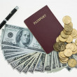 Banknotes and passport on white background, pocket money and prepare for travel. — Stock Photo #69162883