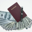 Banknotes and passport on white background, pocket money and prepare for travel. — Stock Photo #69168155