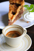 Fresh coffee on wooden table. Espresso coffee short on table. — Stock Photo