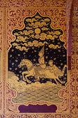Starověké thajské vzorek na zdi v Thajsku Buddha chrám, asijské Buddha styl umění, krásný vzor na stěně chrámu. — Stock fotografie