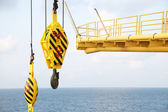 Crane hooks on work site, Crane on Oil and gas platform for transfer cargo and Controlled by Crane operator. Crane background and empty area for text. — Stock Photo