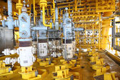 Oil and gas production slot on the platform, Well head control on oil and rig industry, Heavy industry in offshore oil and gas business. — Stock Photo