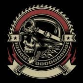 Vintage Biker Skull Emblem — 图库矢量图片