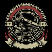 Vintage biker schedel embleem — Stockvector