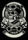 Vintage Biker Skull With Crossed Piston Emblem — Stok Vektör