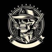 Cowboy Skull with Handguns — Stock Vector