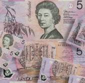 The Australian dollar - bill denomination of five dollars — Stock Photo