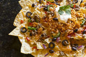 Nachos with Rice and Sour Cream — Stock Photo