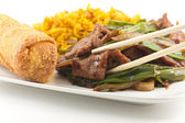 Chinese Fried beef with Scallion — Stock Photo
