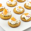 Crackers with Cream Cheese and Smoked Salmon — Stock Photo #62741421