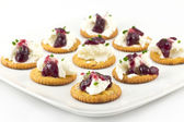 Crackers with Cream Cheese Grape Jelly and Chives — Stock Photo