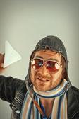 Aviator Man Paper Plane — Zdjęcie stockowe