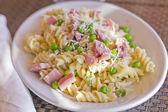 Pasta Salad Ham Peas — Stock Photo