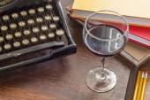 Vintage Typewriter Glass of Wine — Stock Photo