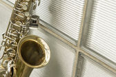 Saxophone Brick Wall — Stock Photo