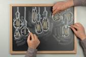 Lightbulb Chalkboard — Stock Photo