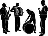 Silhouettes ofmusicians — Stock Vector