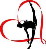 Gymnast girl with stripe in shape of heart — Cтоковый вектор