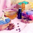 Spa setting with natural soap and sea salt — Stock Photo #52881005
