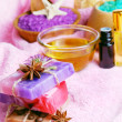 Spa setting with natural soap and sea salt — Stock Photo #52881389