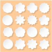 Set of White Paper Floral Frames on a Beige Background.  — Stock Vector