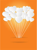 Valentines Day of White Paper Heart on a Orange Background.  — Stock Vector