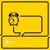 Clock Alarm Icon Speech Bubbles and Chat symbol — Stock Vector