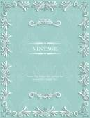 Green Vintage Background with Floral — Stock Vector