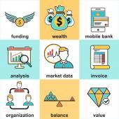 Linie ikony s plochou designové prvky finančních investic — Stock vektor