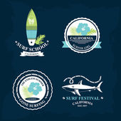 Surfing summer icons — Stock Vector