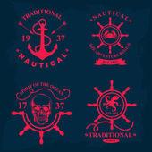 Nautical marine badge design. — Stock Vector